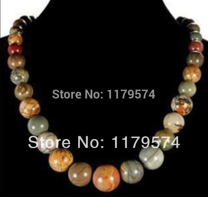 6-14mm Multicolor Picasso Stone Round Beads Necklace Chain Hand Made Fashion Jewelry Making Design Gifts for Girl Women 18inch