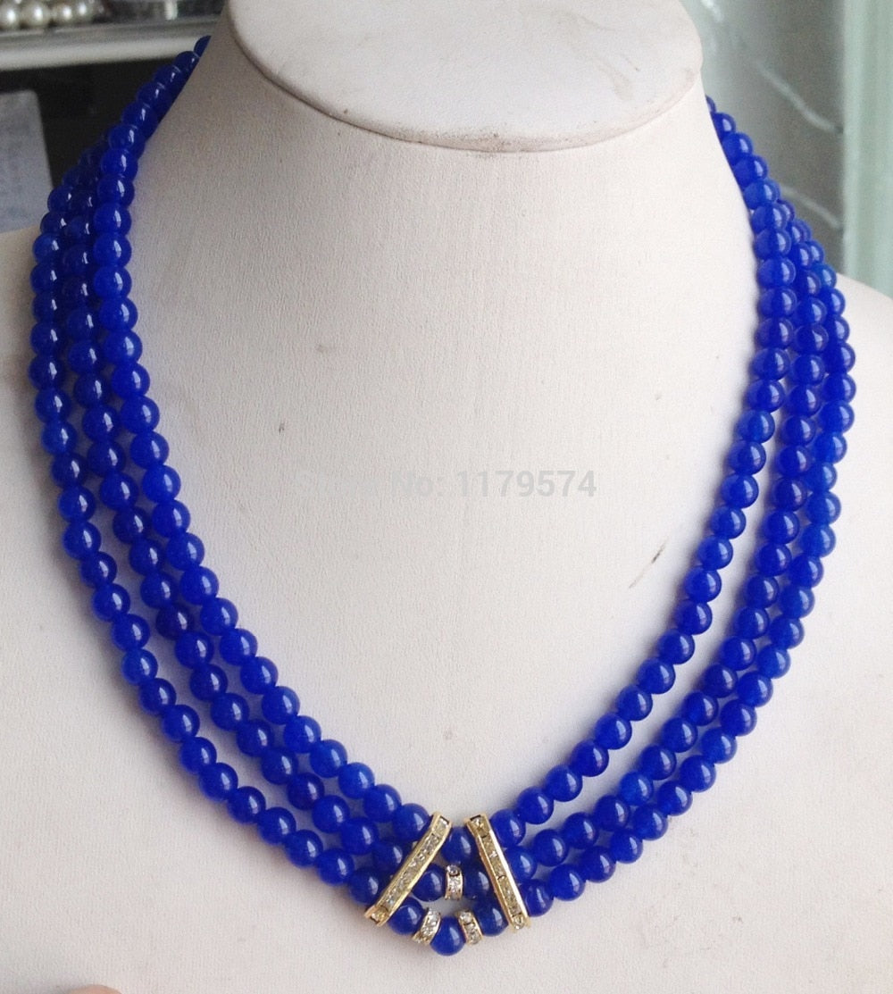 3Rows 6mm Hot new fashion Blue Round Chalcedony beads Necklace Hand Made Fashion Jewelry Making Design Christmas gifts W0434