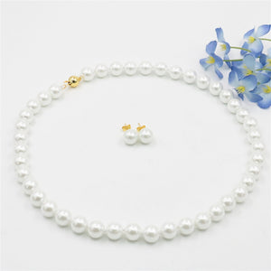 Fashion Charming 8MM White Akoya Shell Pearl Necklace Earrings DIY AAA Grade Hand Made Jewelry Sets Gifts For Girl Women W00105