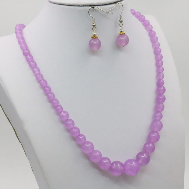 Purple Chalcedony Crystal Lucky Stone Tower Necklace Chain Earring Sets 15inch Hand Made Beads Jewelry Gifts Accessories 6-14mm