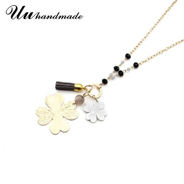 Statement necklace pendant long gold chain beads tassel flower pendants choker body jewelry chain chokers necklaces for women