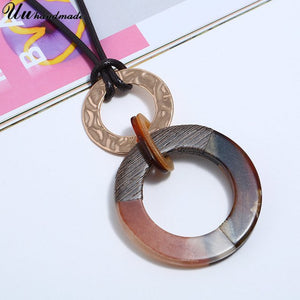 Boho Big Acrylic Round Pendant Leather Chain Necklace Women Choker Jewelry Colar Collares Harajuku Bijoux Femme Collier Kolye