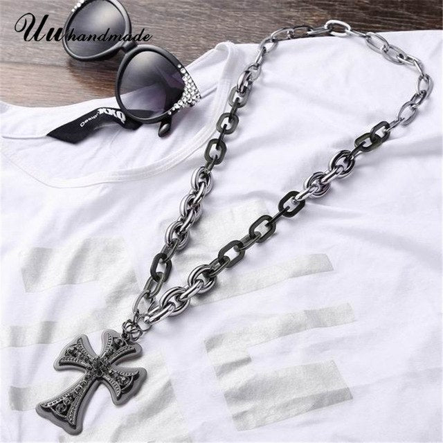 Necklaces & Pendants Acrylic Long Chain Best Friends Cross Necklace Pendant Colar Feminino For Pingente Charms Fashion Jewelry
