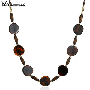 Acrylic Round long Choker Necklace Chocker Collar Steampunk Maxi Chokers Necklaces & Pendants Women Boho Kolye Collier bijoux
