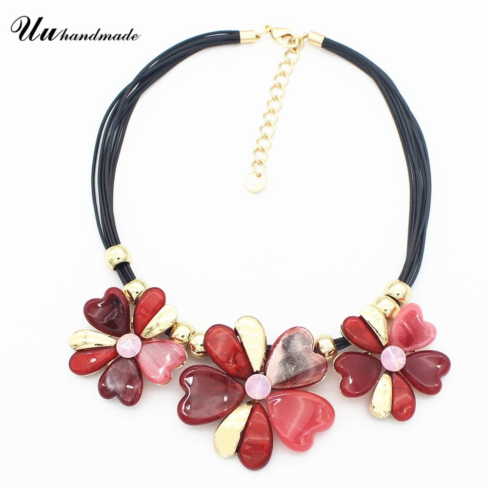2017 Promotion Kolye Necklace Women Flower Pendent Pendants Colar Feminino Collares Mujer Colares Acrylic Romantic Plant