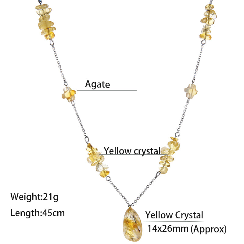 EdgLifU Yellow Crystal Pendant Necklace Fashion Jewelry Stainless Steel Stone Necklaces Made by Hand Engagement Jewelry Female
