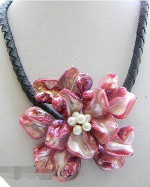 Free shipping >>>>>17''70mm hand-made red Shell Flower Necklace