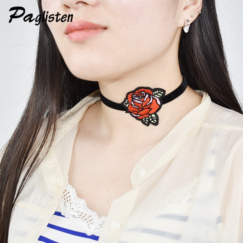 PAGlisten The New Bijoux Rose Flower Embroidery Choker Necklaces for Women New Design Hand Made Lace Collar Necklace Jewelry