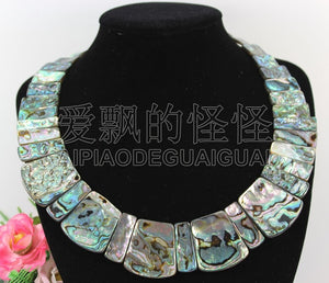 N090531 19'' Hand-Made Natural Paua Abalone Shell Necklace
