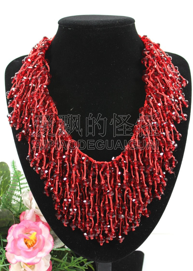 N090522 18'' Hand-Made Silk 8mm Natural Red Crystal Necklace