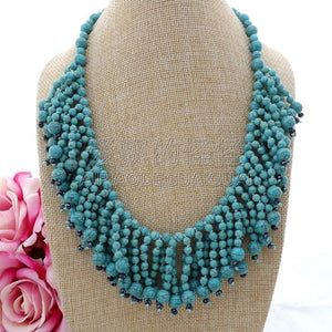 "N082917 Hand-Made 19"" Green Gems Stone Crystal Necklace"