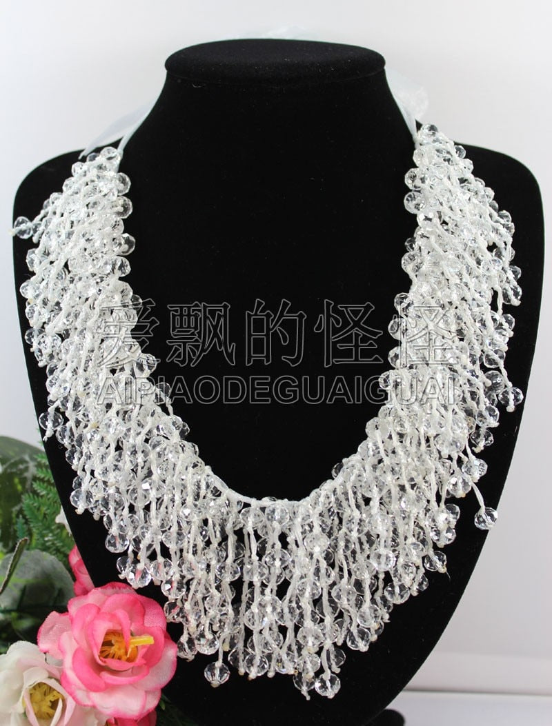 N090523 18'' Hand-Made Silk 8mm Natural White Clear Crystal Necklace