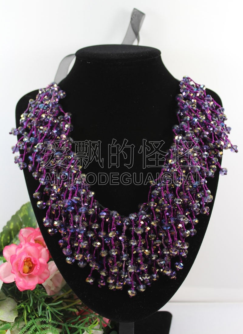 N090521 18'' Hand-Made Silk 8mm Natural Purple Crystal Necklace