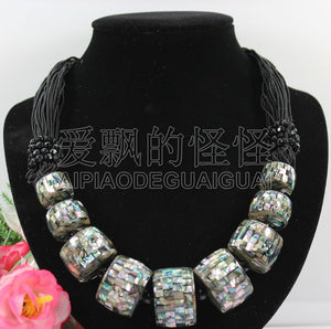 N090528 19'' Hand-Made Black Paua Abalone Round Onyx Shell Necklace