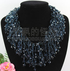 N090526 18'' Hand-Made Silk 8mm Natural Clear Blue Crystal Necklace