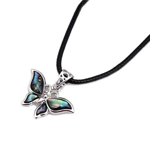 XIUFEN Women Black Rope Chain Hand-Made Abalone Shell Material Butterfly Pendant Necklace