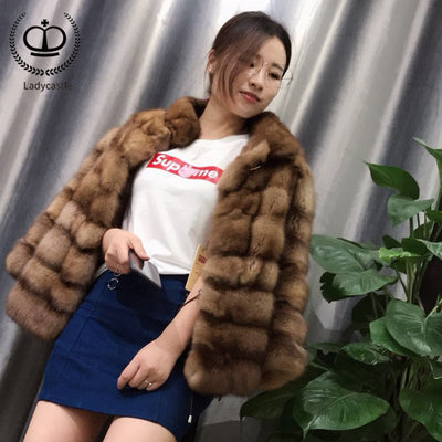 2018 New Arrival Real Sable Fur Coat Stand Collar Luxury Mink Fur Coat Winter Fashion Overcoat With Real Fur Jacket Mink MKW-200