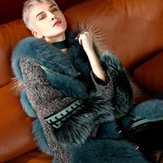 Real Fur Coats for Women Winter Blue Fox Fur Coat, Horseshoe Sleeve, Sheep Genuine Leather Long Fur Coat with Fox Fur Collar