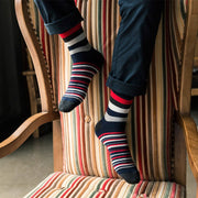 Stylish Men's colorful Autumn Fashion color striped so socks in tube casual cotton socks