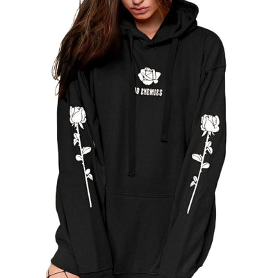 Women Autumn Long Sleeve Hooded Fashion Sweatshirt Print Rose Blouse HO ENEMIES