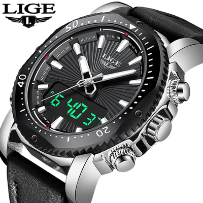 NEW Mens Watches To Luxury Brand Men Leather Sports Watches LIGE Men's Quartz LED Digital Clock Waterproof Military Wrist Watch