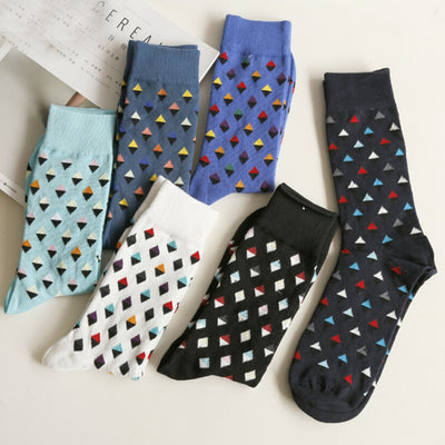 Men socks 2018 Fashion Men Casual Geometry Print Socks Cute Unisex Socks chaussette homme Cotton Socks Men