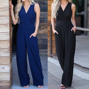 Women Sexy Backless Rompers Casual V-Neck Solid Long  Elastic Waist Jumpsuit
