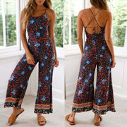 Womens Floral Print Wide Leg Pants Long Jumpsuit Backless Strappy Playsuit