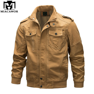 MIACAWOR New Military Jacket Men 100% Cotton Bomber Jacket Autumn Casual Men Coats Chaqueta Hombre Plus Size 6XL J591
