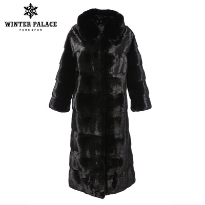 2018 new Solid imported mink fur coat velvet fur coat female long section real fur coat female slim hooded fashion fur