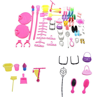 1 Set Shoes Bag Mirror Hanger Comb Furniture Dress For  Dolls Accessories Set Baby Toys for Children Gifts