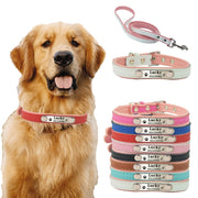 10 Colors 5 Sizes Pet Personalized Collar Soft Leather Laser Free Engraving Pet Name Phone ID Dog Puppy Collars