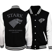2019 Autumn Game of Thrones House Stark Printed Men Jacket Baseball Uniform Jacket Male Fire & Blood Plus Size Men Coat Hoodie