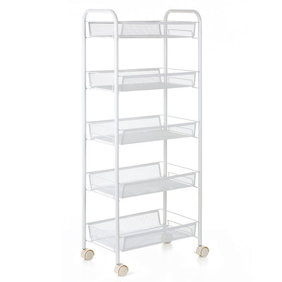 Multi-Purpose 5-Tier Mesh Wire Rolling Cart Storage Trolley Organizer for Kitchen Pantry Bedroom Bathroom Living Room--White