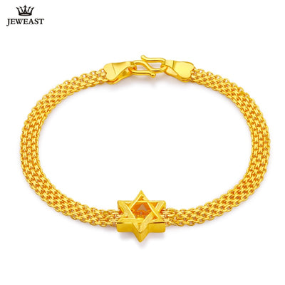 24K Pure Gold Bracelet Real 999 Solid Gold Bangle Simple Fashion Smart Star Trendy Classic Party Fine Jewelry Hot Sell New 2018