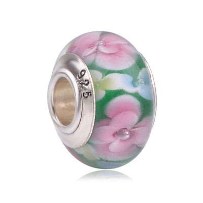 Couqcy Flower 2 Color Fits Pandora Charms Bracelet Pretty Murano Glass Beads DIY 925 Sterling Silver Beads For Jewelry Making