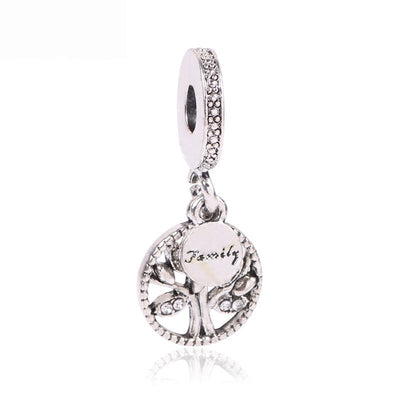 Cute Fashion 925 Sterling Silver Bead Charms Fine Tree Family Pendant Beads Fit Pandora Bracelets & Bangles Necklace Jewelry
