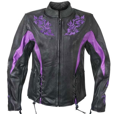 Xelement XS2027 Women's Black Leather Embroidered Jacket