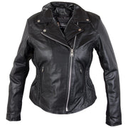Xelement B8005 Ladies Classic Cruiser Leather Braided Motorcycle Black Jacket
