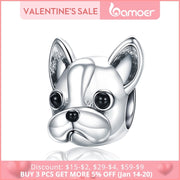 BAMOER 925 Sterling Silver Loyal Partners French BULLDOG Doggy Animal Beads fit Women Charm Bracelets Dog Jewelry SCC315