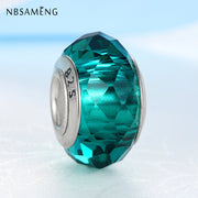 100% Authentic 925 Sterling Silver Beads Charms Crystal Round Clear Green Blue Fit Pandora Bracelets & Bangles Women DIY Jewelry