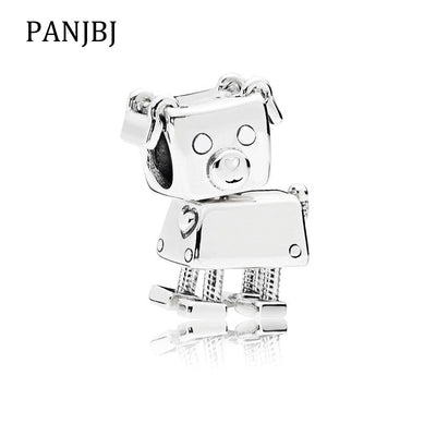 Fashion Free Shipping Silver Plated Bead Charms Robot Dog Puppy Charm Fit Original Pandora Bracelets DIY Women Jewelry