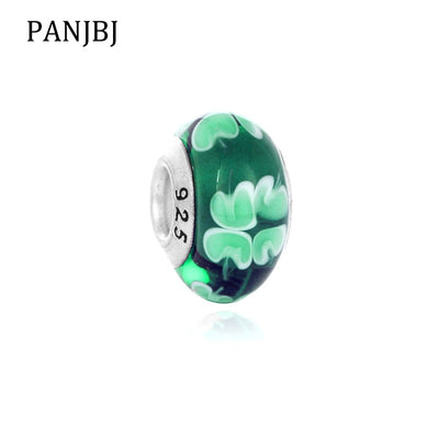 New Free Shipping European Murano Glass Bead Aolly Charm Leaf Clover Charms Fit Original Pandora Bracelets DIY Women Jewelry