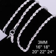 1PC 3mm Width Pure 925 Sterling Silver Charm Rope Necklace Chains Jewelry With Good Quality Lobster Clasps Set 16-24Inches