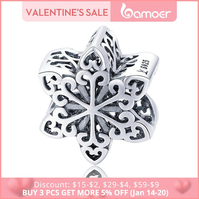 BAMOER Genuine 925 Sterling Silver Elegant Snowflake Openwork Beads fit Women Charm Bracelets & Necklace DIY Jewelry SCC719