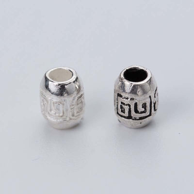 2pcs/lot 925 Sterling Silver Craft Olive Spacer Beads 6x4.5mm Handmade Charm Silver Beads DIY Jewelry Making Bracelets Findings