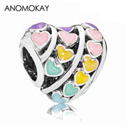 New Style Sterling 925 Silver Multi-Color Love Heart Charm Mix Color Enamel Beads fit Original Pandora Bracelet DIY Jewelry