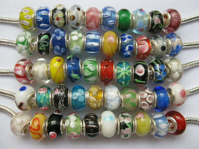 OMH wholesale Lot 20pcs Sterling Silver Murano Glass European Charm Beads Fit Bracelets ZL546