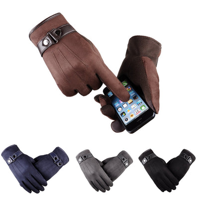 1 Pair Men Winter Touchscreen Gloves Thick Cotton Suede Leather Warm Fleece Lined JL