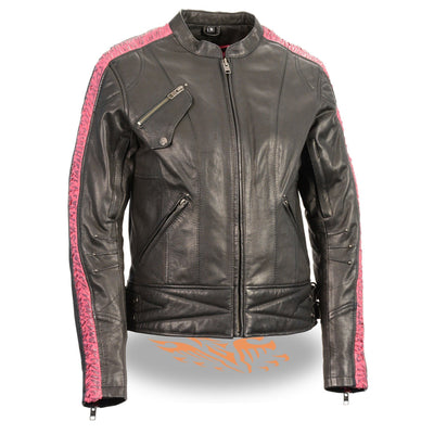 Milwaukee Leather-MLL2571-Ladies Lightweight Black and Pink Racer Jacket with Crinkled Arm Detailing